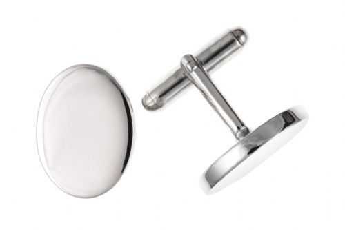 Sterling Silver Plain Oval Cufflinks T Bar Fitting